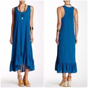 Love Stitch Ruffle Hem Maxi Dress Indigo M
